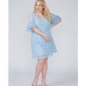 Lane Bryant 18/20 blue crochet lace shift dress